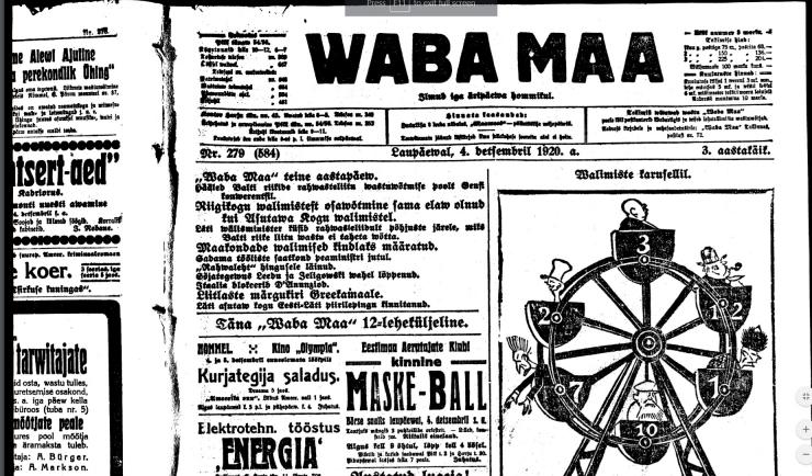 Täna 100 aastat tagasi: valik uudiseid 4. detsembrist 1920
