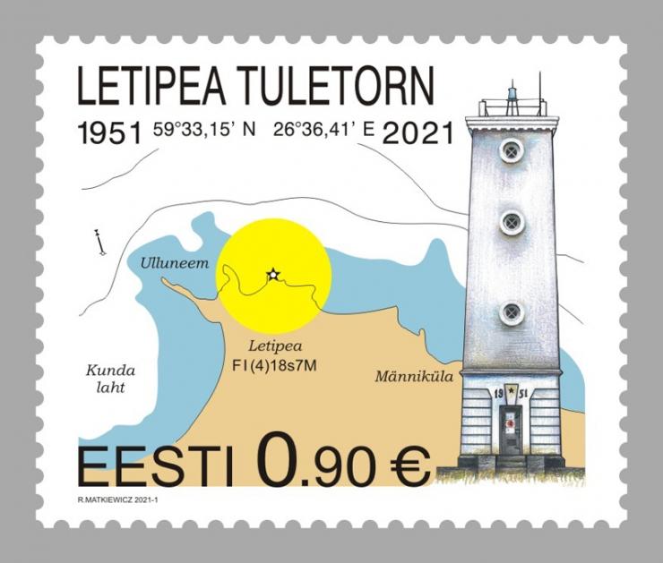 2021. aasta esimene postmark kujutab Letipea tuletorni